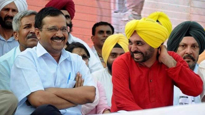 Delhi Chief Minister and AAP President Arvind Kejriwal with MP Bhagwant Mann.