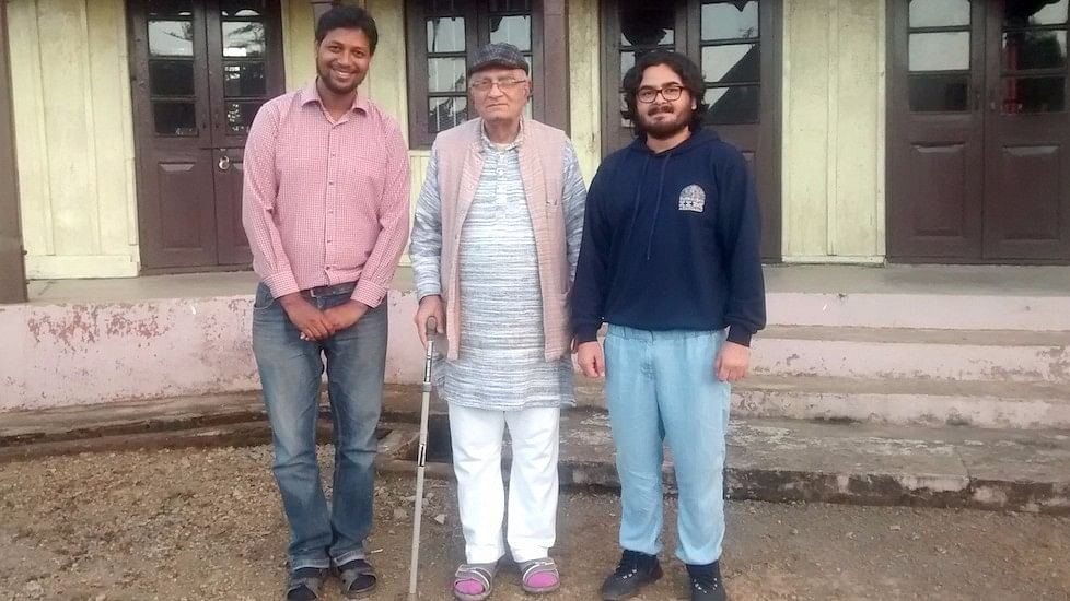 Natwarbhai Thakkar (centre) with visitors at the Gandhi Ashram in Chuchuyimlang village in Nagaland. (Photo Courtesy: Ajit Kanitkar)