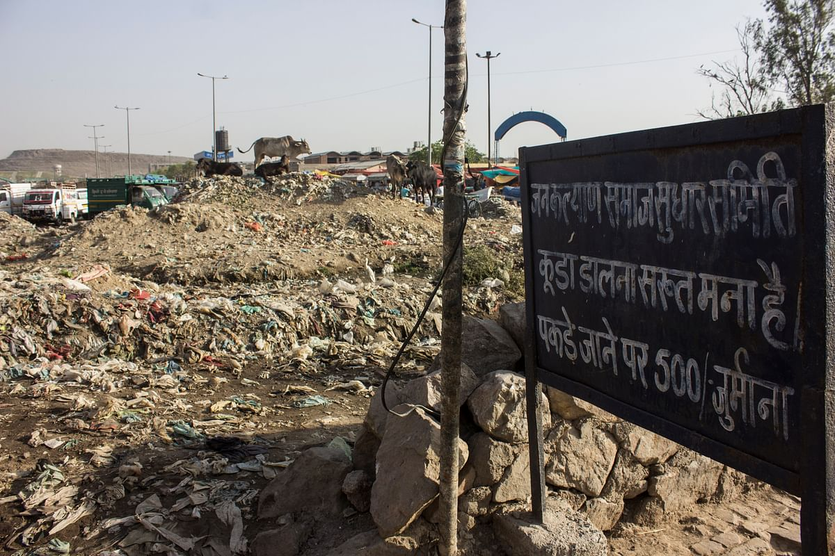 While this board stands mute, garbage piles up in front of it (Photo: Abhilash Mallick/<b>The Quint</b>)