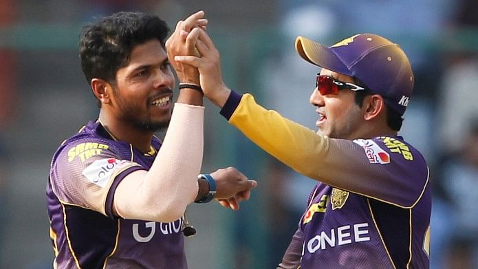 Gautam Gambhir celebrates a wicket with Umesh Yadav during the tenth edition of the IPL. (Photo: BCCI)