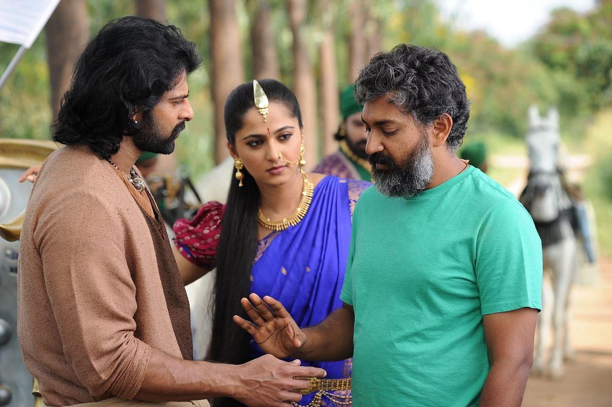 Director SS Rajamouli with Prabhas and Anushka Shetty on the sets of <i>Baahubali: The Conclusion. </i>(Photo courtesy: Arka Mediaworks)