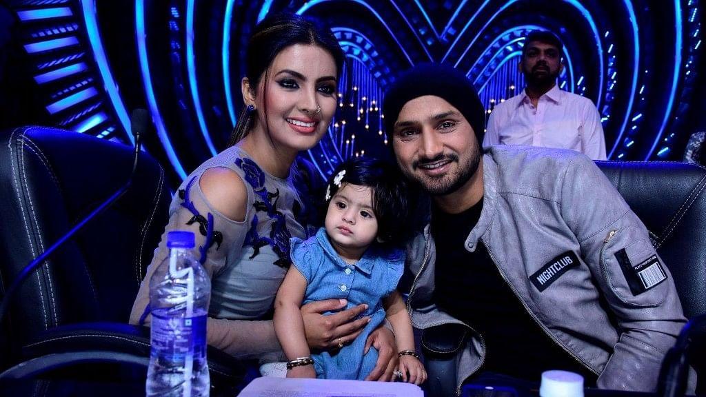 Geeta Basra and Harbhajan Singh pose with their daughter. (Photo courtesy: Star Plus)