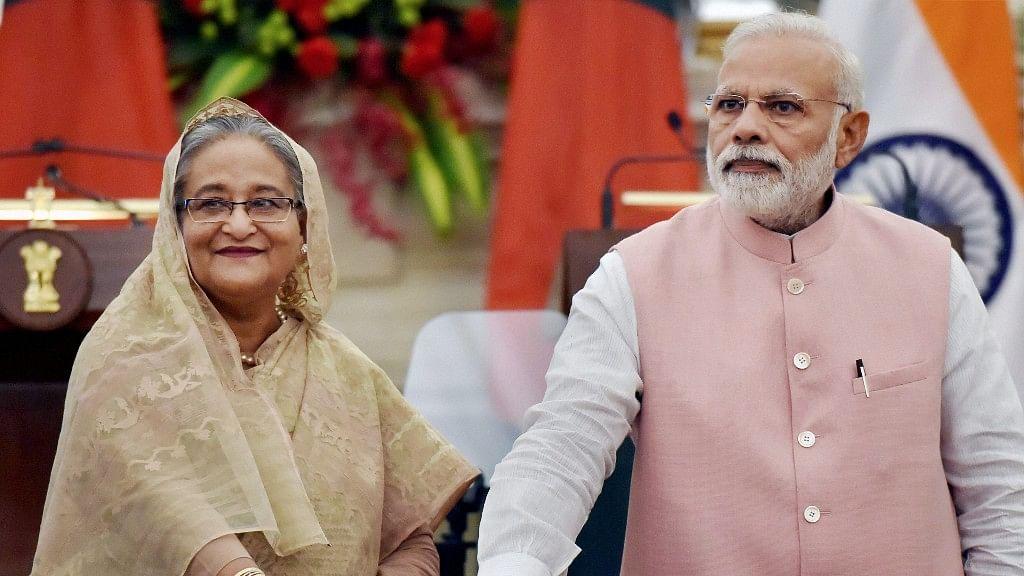 Prime Minister Narendra Modi with his Bangladeshi counterpart Sheikh Hasina during a media event on Saturday. (Photo Courtesy: PTI)