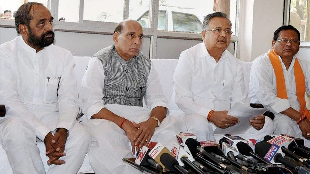 Union Home Minister Rajnath Singh with Chattisgarh Chief Minister Raman Singh address the media on the Sukma Naxal Attack in Raipur on Tuesday. (Photo: PTI)