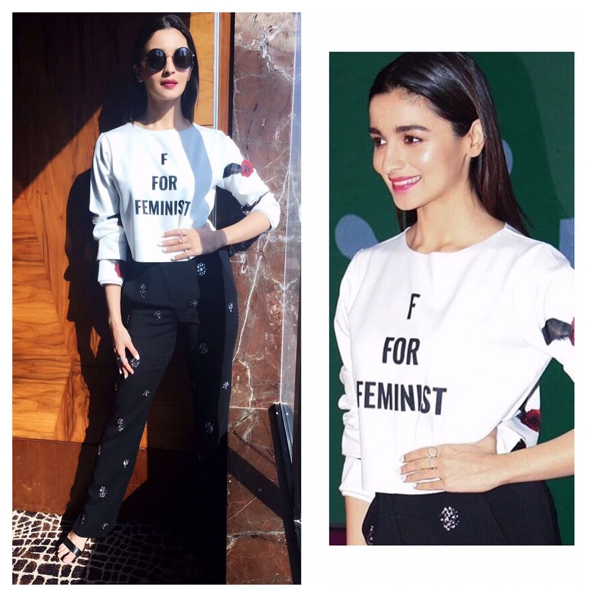 Alia Bhatt wearing an F for Feminist shirt by designer Gaurav Gupta. (Photo: Gaurav Gupta)