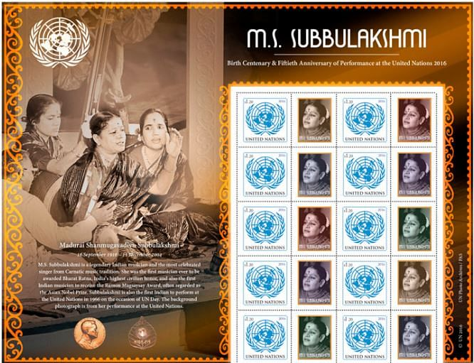 """The stamp in memory of carnatic singer, M.S. SubbuLakshmi (Photo Courtesy: Twitter/<a href=""""https://twitter.com/unstamps"""">@unstamps</a>)"""
