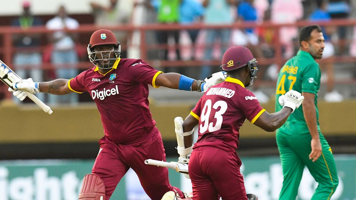 West Indies cricketers celebrate a historic ODI victory against Pakistan. (Photo: WICB)