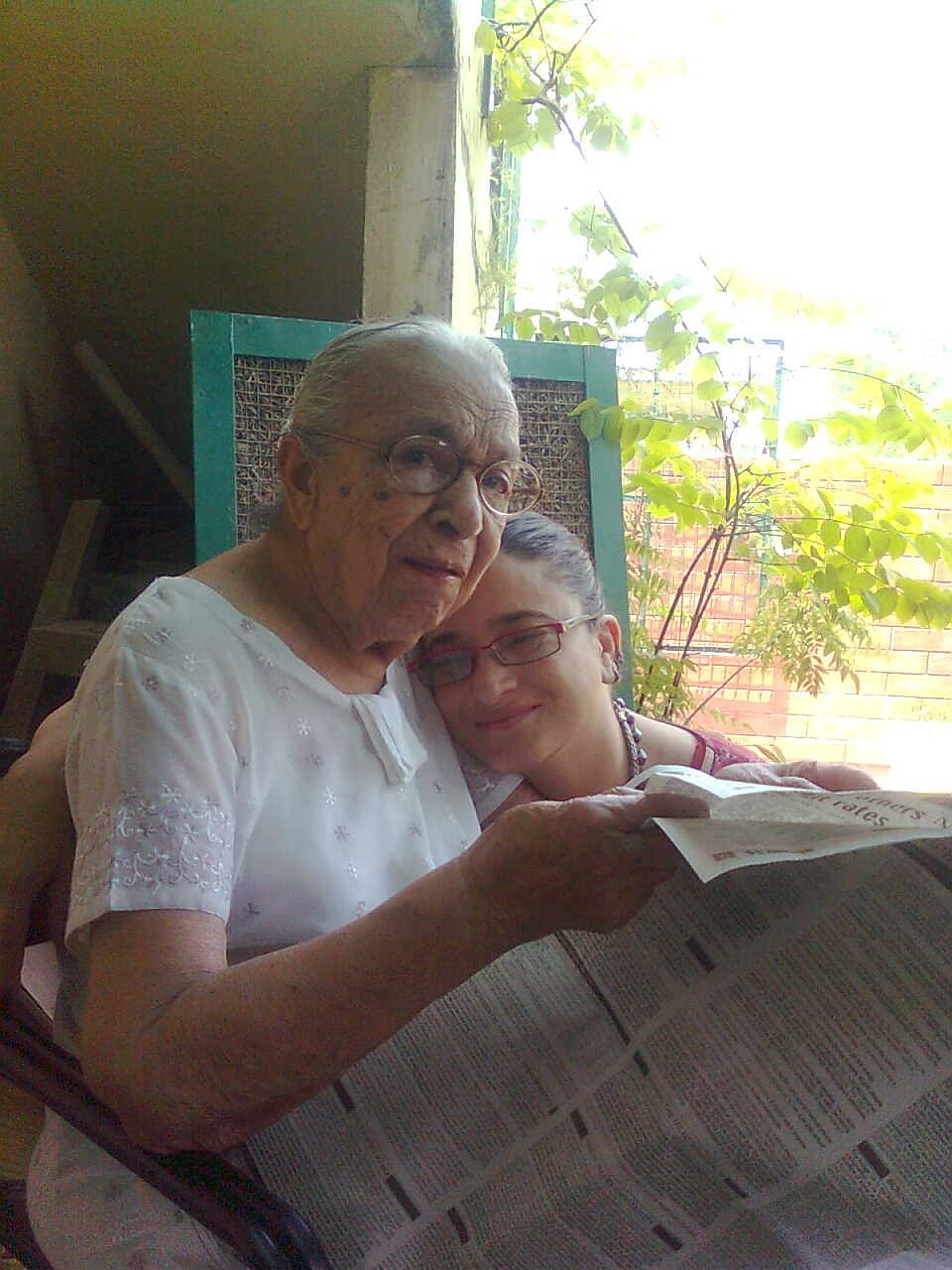 Sujata Sehgal cuddling with her grandmother in the balcony of their Delhi home.