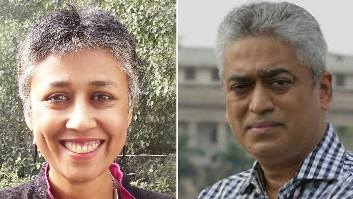 Nandini Sundar (L), Rajdeep Sardesai (R). (Photo: Altered by <b>The Quint</b>)
