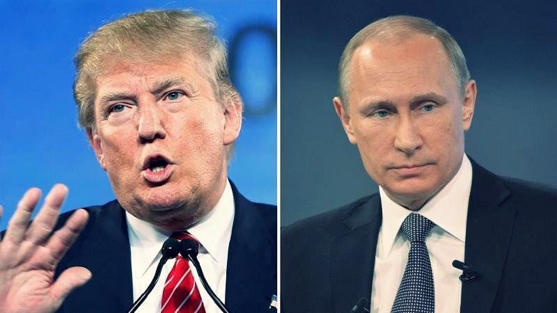 Donald Trump (left) with Vladimir Putin (right). (Photo: <b>The Quint</b>)