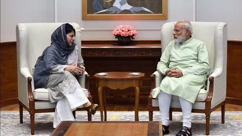 Jammu and Kashmir Chief Minister Mehbooba Mufti and Prime Minister Narendra Modi in New Delhi. (Photo: ANI)