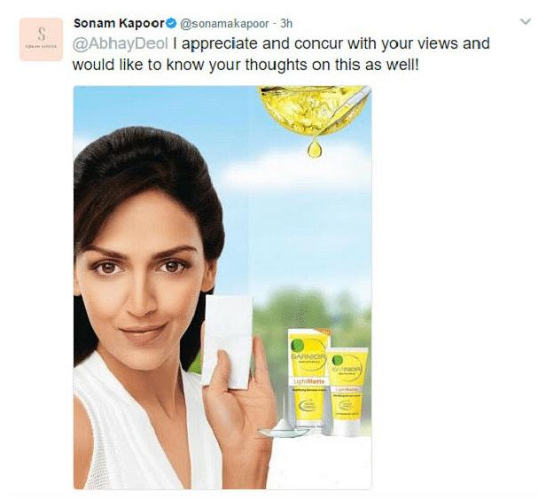 Screenshot of Sonam Kapoor's tweet.