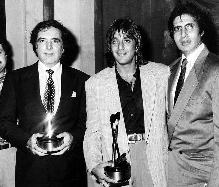 """Feroz Khan with Sanjay Dutt and Amitabh Bachchan. (Photo courtesy: <a href=""""https://www.facebook.com/Bollywoodirect/"""">Facebook/ bollywooddirect</a>)"""