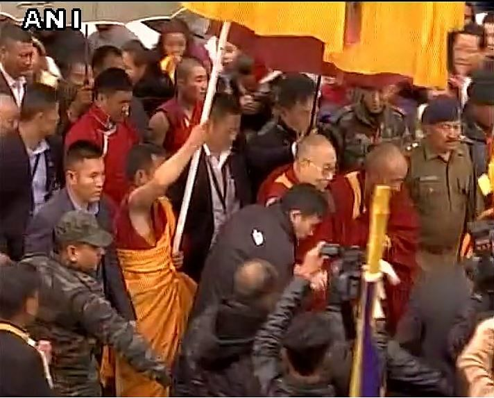 The Dalai Lama arrives in Bomdilla. (Photo: ANI)