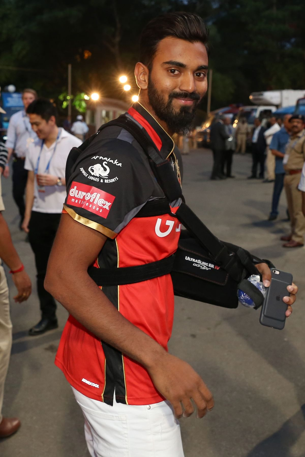 After getting surgery on his injured shoulder in London, KL Rahul joined his IPL team RCB to cheer them on for a home game. (Photo: BCCI)