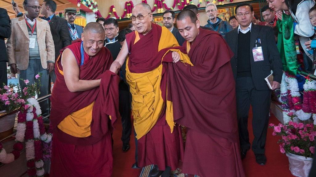 Tibetan spiritual leader the Dalai Lama arrived to deliver teachings in Tawang, in the northeastern Indian state of Arunachal Pradesh on 8 April 2017. (Photo: AP)