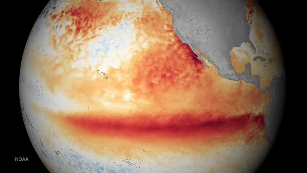 The US National Oceanic and Atmospheric Administration's depiction of the 2015-2016 El Niño. (Photo Courtesy: US NOAA)