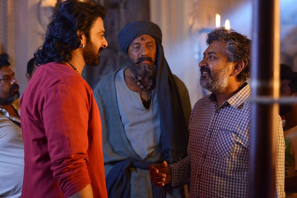 Director SS Rajamouli in discussion with art director Sabu Cyril. (Photo: Arka Mediaworks)