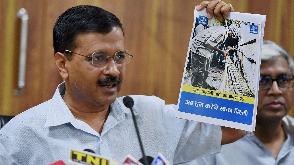 Arvind Kejriwal releasing the party manifesto for the MCD elections in New Delhi on 19 April 2017. (Photo: PTI)