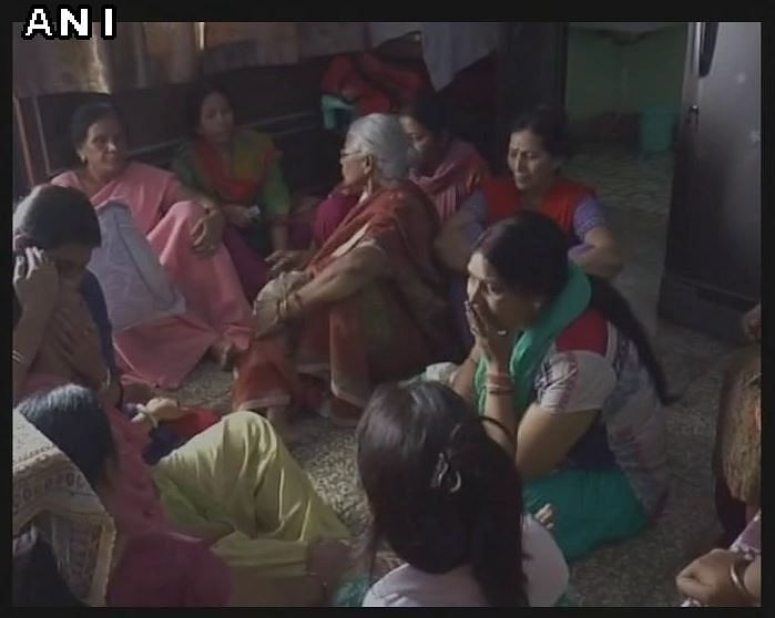 Family mourns the demise of Captain Ayush Yadav at his home in Kanpur. (Photo: ANI)