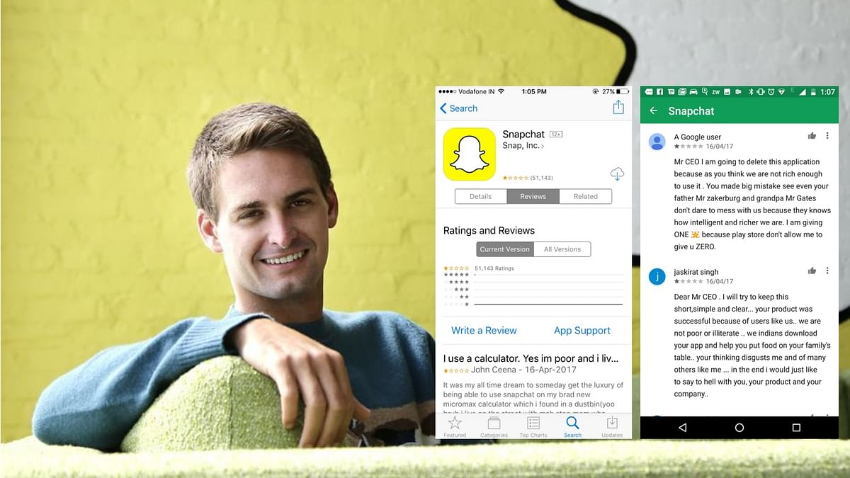 App users have downgraded Snapchat's ratings over CEO Evan Spiegel's allegedly calling India poor.