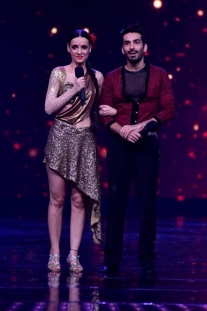 Sanaya Irani and Mohit Sehgal post their performance. (Photo courtesy: Star Plus)