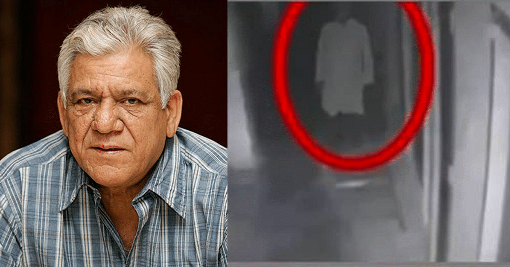 Om Puri (L) and CCTV of a man being called Om Puri's ghost. (Photo courtesy: Twitter)