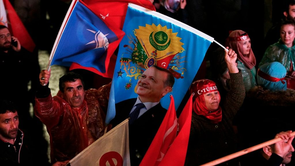 """Supporters of the """"Yes"""" vote celebrate in Ankara, on Sunday, April 16, 2017. (Photo: AP)"""