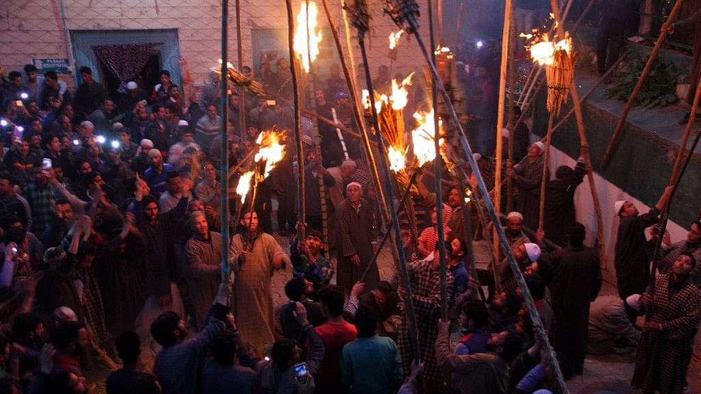 The age old tradition of burning <i>Mashals</i> (torches), Zool, as it is called in the local language, was carried on Tuesday night. (Photo: Muneeb ul Islam)