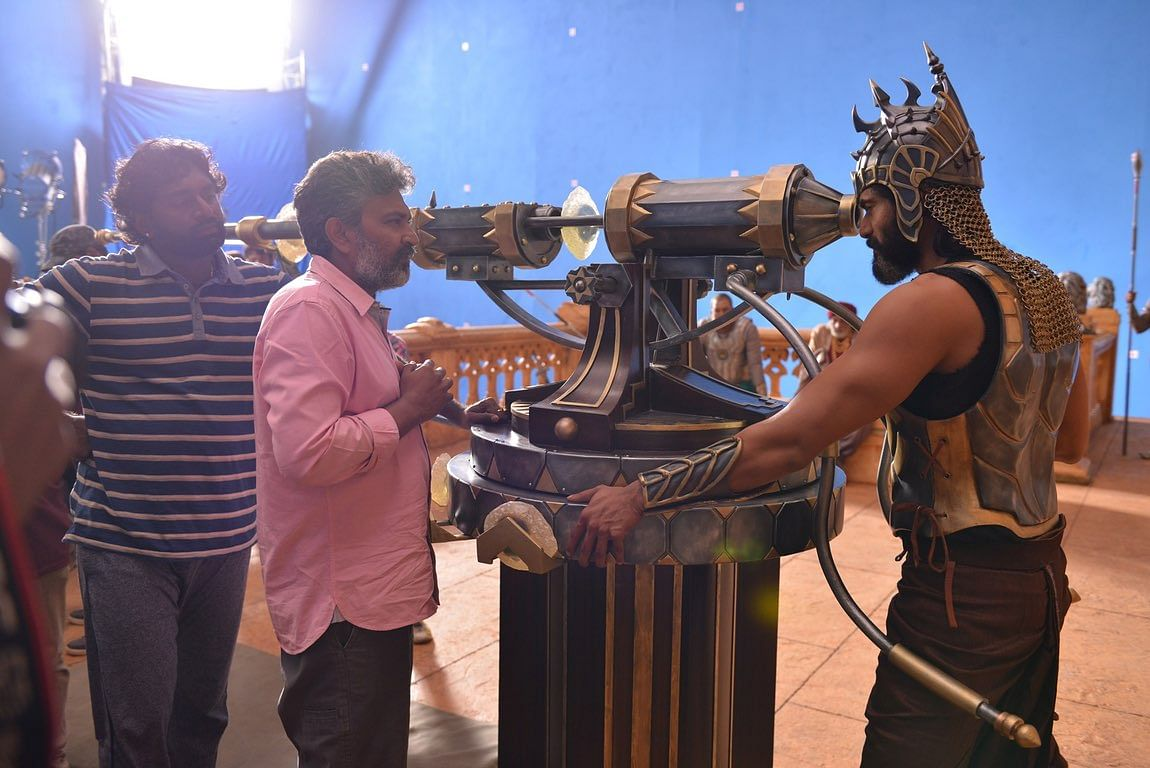 Rana Daggubati and Rajamouli rehearse a scene before shooting. (Photo: Arka Mediaworks)