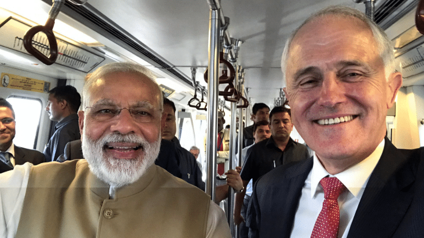 "Australian Prime Minister Malcolm Turnbull ordered his government to tighten  visa rules six days after his meeting with PM Narendra Modi. Photographed here on the Blue Line of Delhi Metro. (Photo courtesy: Twitter/<a href=""https://twitter.com/TurnbullMalcolm/status/851384879694528513"">@TurnbullMalcolm</a>)"