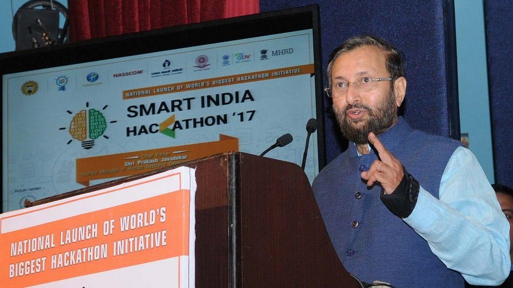 HRD minister Prakash Javadekar speaking at the Smart India Hackathon 2017 in Mumbai on Saturday. (Photo Courtesy: HRD Ministry)