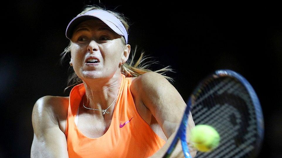 Maria Sharapova in action at the Stuttgart Open.