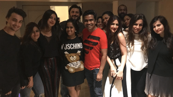 Celebs pose with Priyanka Chopra at her party. (Photo: Yogen Shah)