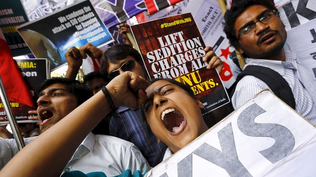 Demonstrators shout slogans as they hold placards during a protest demanding the release of Kanhaiya Kumar, a JNU student union leader accused of sedition, in New Delhi, on 2 March  2016. Image used for representation purpose.