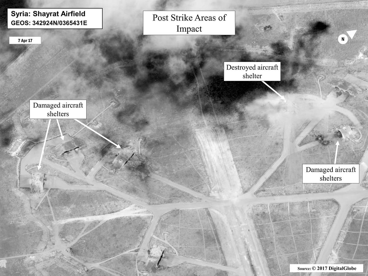 This satellite image released by the US Department of Defense shows a damage assessment image of Shayrat air base in Syria, following US Tomahawk Land Attack Missile strikes. (Photo: AP)