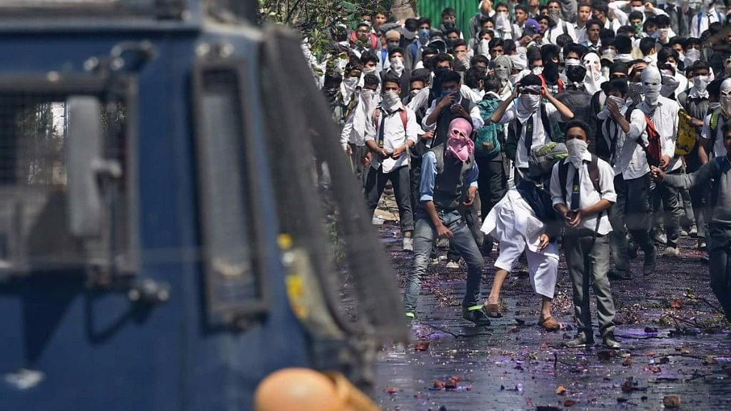 """Widespread protests by students on Monday heightened tensions in the valley. (Photo Courtesy: Twitter/<a href=""""https://twitter.com/MirUzair1/status/853902603587121152"""">@MirUzair1</a>)"""