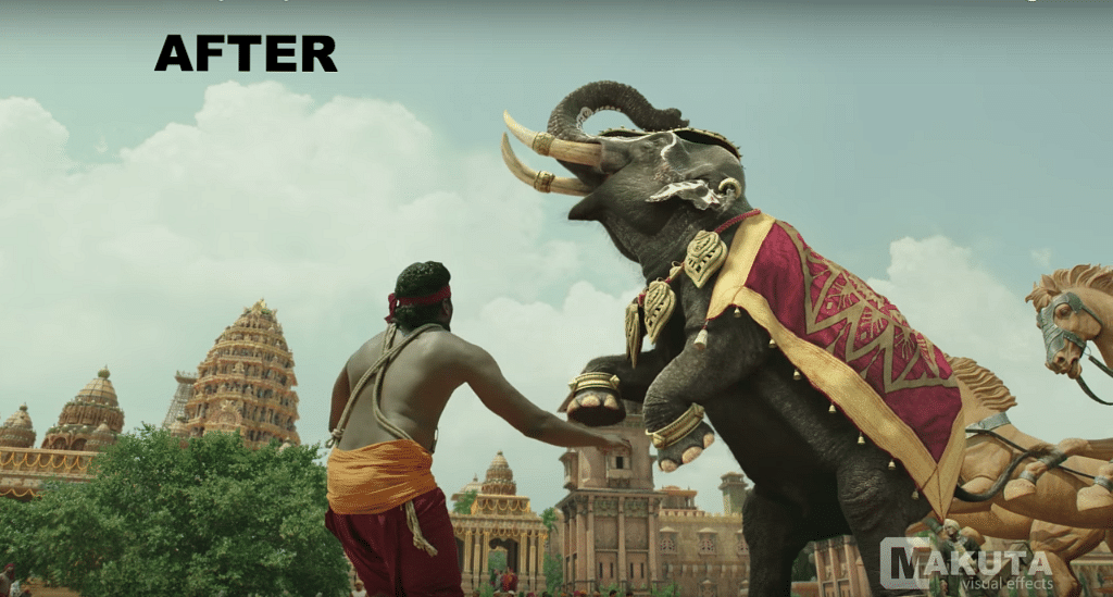 Before and after VFX shots from <i>Baahubali: The Beginning. </i>(Photo courtesy: YouTube)