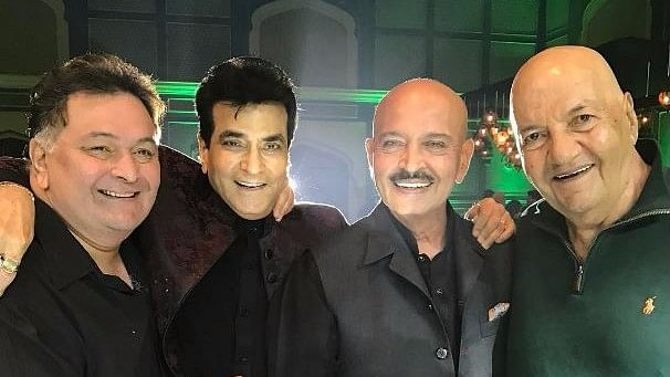 Jeetendra with friends Rishi Kapoor, Rakesh Roshan and Prem Chopra on his 75th birthday. (Photo Courtesy: Instagram/@ektaravikapoor)