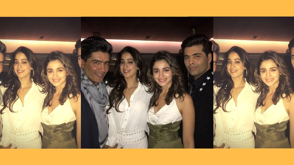 Manish Malhotra, Jhanvi Kapoor, Alia Bhatt and Karan Johar in one of their star-studded get-togethers. (Photo courtesy: Instagram)
