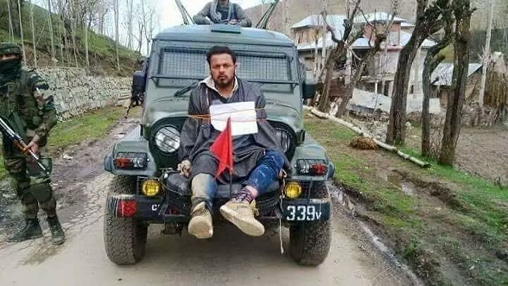 "Farooq Dar was tied to the front of an army jeep and driven through nine villages surrounding Budgam (Photo Courtesy: Twitter/<a href=""https://twitter.com/absar700"">@absaar700</a>)"