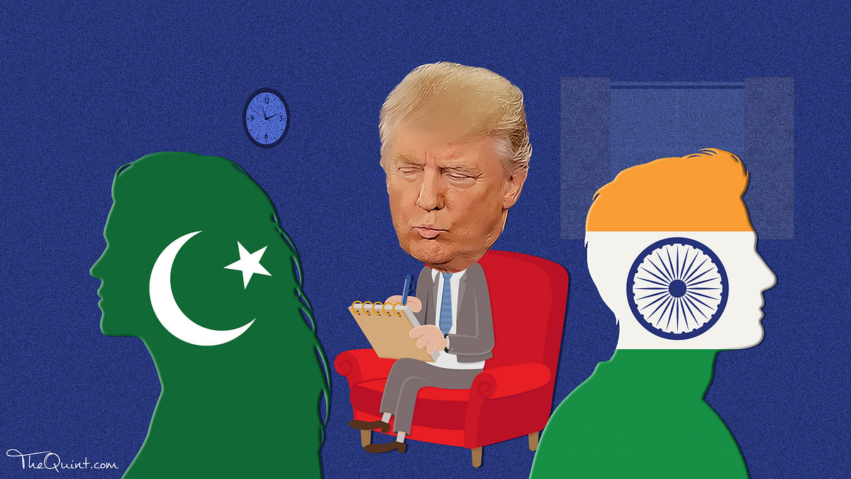 If Pakistan and India are like a divorced couple, the US would be the neighbour trying to mediate a relationship with too much baggage. (Photo: Rhythum Seth/<b>The Quint</b>)