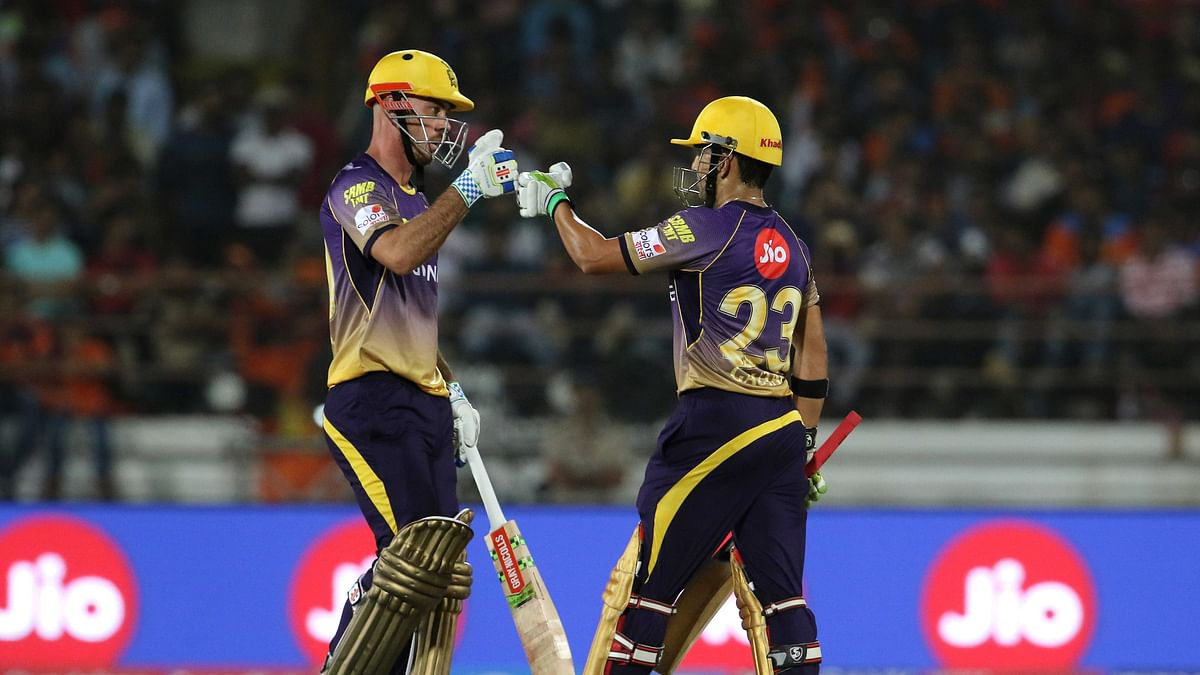 Chris Lynn and Gautam Gambhir during match 3 of the Vivo 2017 Indian Premier League between the Gujarat Lions and the Kolkata Knight Riders. (Photo: BCCI)