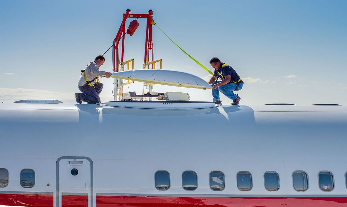 This is how the in-flight Wi-Fi routers is affixed to the Boeing B757 test plane. (Photo Courtesy: Honeywell Aerospace)