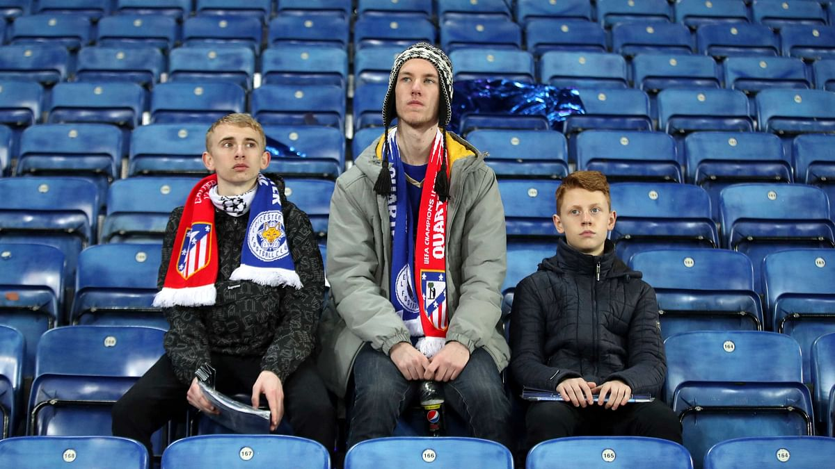 Fans after the second leg of the UEFA Champions League quarter final match at the King Power Stadium, Leicester. (Photo: AP)