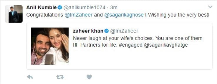 Kumble Tags the Wrong Sagarika as Zaheer's Fiance on Twitter