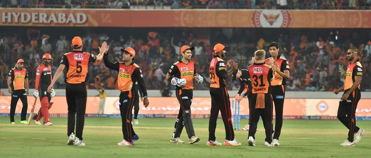 SRH players celebrate after their opening victory of IPL 10. (Photo: IANS)