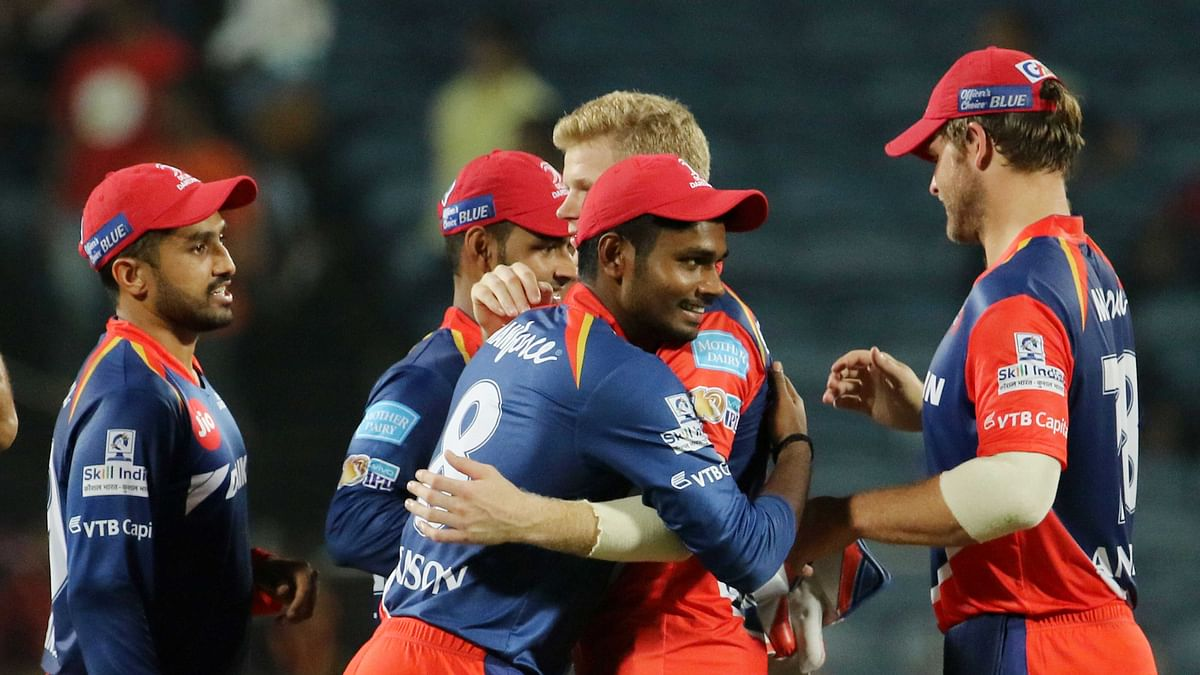 Delhi Daredevils players celebrate after beating RPS. (Photo: BCCI)