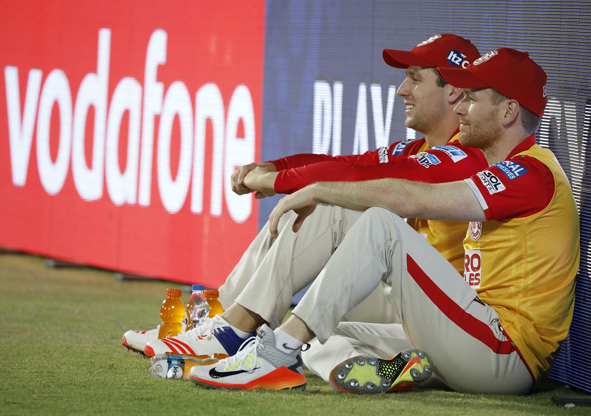 England skipper Eoin Morgan has been reduced to wearing the yellow jersey on the sidelines for Kings XI Punjab. (Photo: BCCI)
