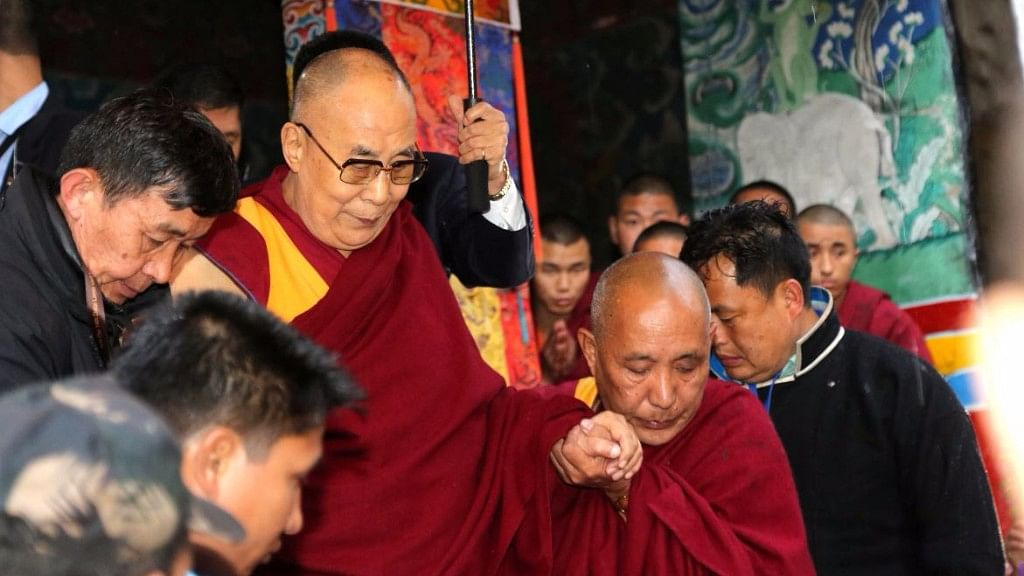 "The Dalai Lama was accorded with a warm welcome at Thubchog Gatsel Ling Monastery. (Photo Courtesy: Twitter/<a href=""https://twitter.com/PemaKhanduAP/status/849237669255106561"">@Pema Khandu</a>)"
